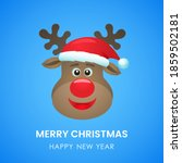 ute deer in santa claus hat... | Shutterstock .eps vector #1859502181