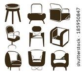 silhouette chair set | Shutterstock .eps vector #185950847