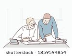 two businessmen consulting a... | Shutterstock .eps vector #1859594854