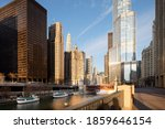 Chicago River And Skyline Of...