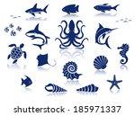 Marine Life Icon Set. Isolated...