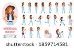 hipster girl poses vector... | Shutterstock .eps vector #1859714581