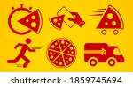 pizza delivery icon set. flat...