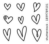 hearts doodle set in style.... | Shutterstock .eps vector #1859789101