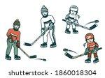 boy and man hockey players.... | Shutterstock . vector #1860018304