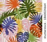 natural jungle seamless pattern....   Shutterstock .eps vector #1860024664