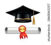 graduation cap and rolled... | Shutterstock .eps vector #1860065257