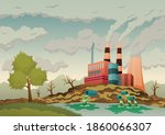 factory plant smokes with smog  ...   Shutterstock .eps vector #1860066307