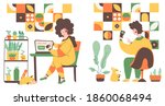 online store payment from home  ... | Shutterstock .eps vector #1860068494