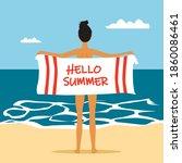 summer banner with hello summer ... | Shutterstock .eps vector #1860086461