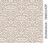 Vintage beige seamless pattern, ornamental vector background in neutral color