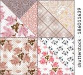 patchwork seamless retro floral ... | Shutterstock . vector #186011639