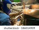 industrial worker welder...   Shutterstock . vector #186014909