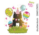 happy birthday card background... | Shutterstock .eps vector #186015851