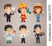 professions cartoon characters... | Shutterstock .eps vector #186017975