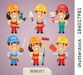 builders cartoon characters... | Shutterstock .eps vector #186017981