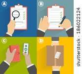 business concept. set of hands... | Shutterstock . vector #186022124
