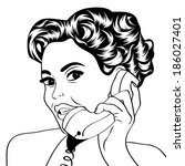 woman chatting on the phone ... | Shutterstock .eps vector #186027401