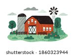 farm landscape with barn or... | Shutterstock .eps vector #1860323944