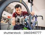 repair technician  bicycles was ...   Shutterstock . vector #1860340777