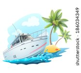 summer travel on yacht... | Shutterstock .eps vector #186034349