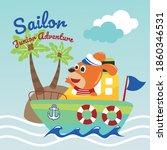 Funny Dog Sailor Cartoon Vector ...
