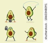 avocado doing sport. cute...   Shutterstock .eps vector #1860348091