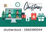 christmas online greeting.... | Shutterstock .eps vector #1860380044