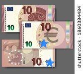 set of new paper money in the... | Shutterstock .eps vector #1860384484