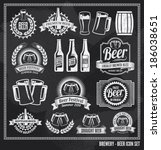 beer icon chalkboard set  ... | Shutterstock .eps vector #186038651
