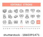 money 20 line icons. vector... | Shutterstock .eps vector #1860391471