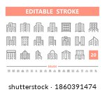 building 20 line icons. vector... | Shutterstock .eps vector #1860391474