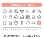 food and drinks 20 line icons.... | Shutterstock .eps vector #1860391477