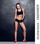 attractive fitness woman ... | Shutterstock . vector #186040859