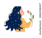 woman with silky long hair... | Shutterstock .eps vector #1860436447