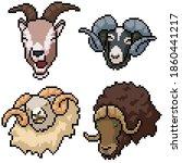 pixel art set isolated horned... | Shutterstock .eps vector #1860441217