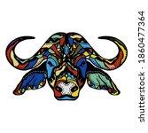 multicolored bull with black... | Shutterstock . vector #1860477364