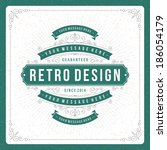 retro typographic design... | Shutterstock .eps vector #186054179