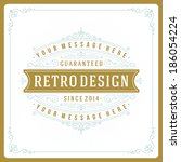 retro typographic design... | Shutterstock .eps vector #186054224