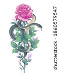 hand drawn twisted snake and... | Shutterstock .eps vector #1860579547