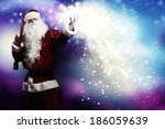 santa clause with gift bag... | Shutterstock . vector #186059639