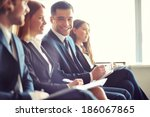 row of business people making... | Shutterstock . vector #186067865