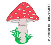 bright colorful red fly agaric... | Shutterstock .eps vector #1860692554