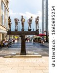 Small photo of Leipzig, Germany - August 4, 2015: view of modern sculpture from Bernd Goebel, named the untimely contemporaries.