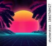 3d sunset on the beach. retro... | Shutterstock .eps vector #1860768427