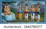 Small photo of Kadirampura, Karnataka, India - November 4, 2013: Sri Murugan Temple. Colorful painting on which other Hindu gods plead with Lord Shiva to name general to defeat demon Surapadman.