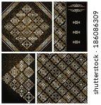 set of vintage wallpaper and...   Shutterstock . vector #186086309