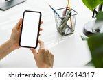 hand holding smartphone mockup...