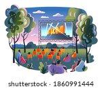 outdoor cinema  open air movie... | Shutterstock .eps vector #1860991444