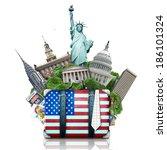 Usa  Landmarks Usa  Suitcase...
